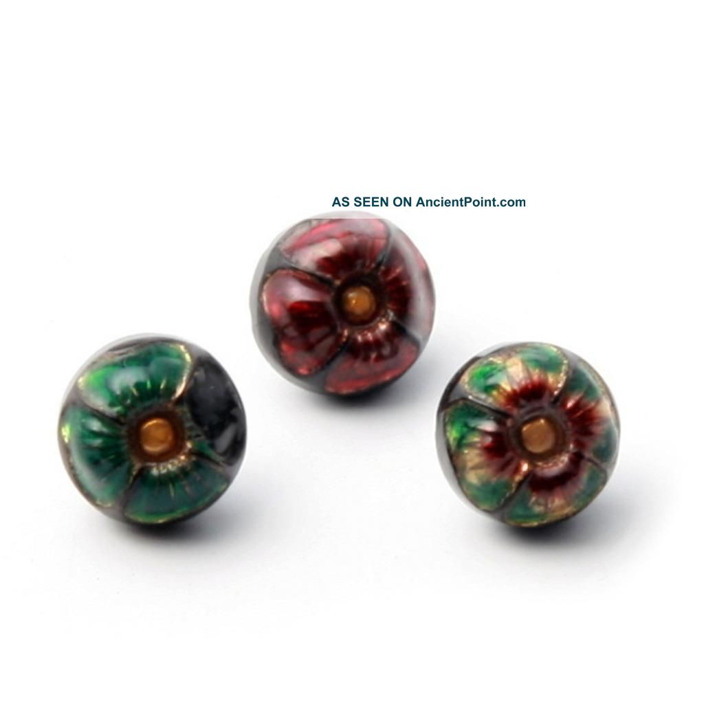 (3) 10mm Czech Victorian Vintage Inlaid Floral Black Doll Size Art Glass Buttons Buttons photo
