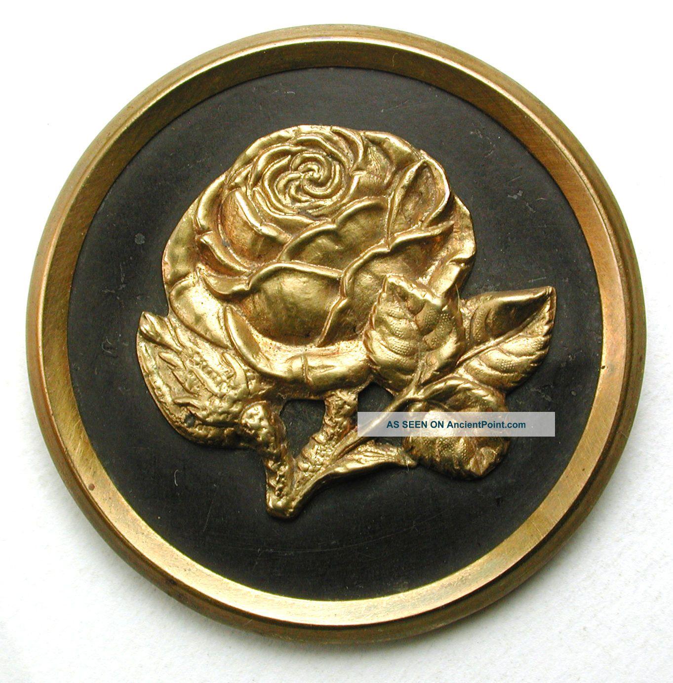 Lg Sz Antique Brass Button Detailed Rose Flower Pictorial Design - 1 & 7/16