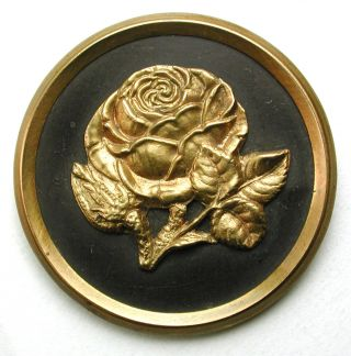 Lg Sz Antique Brass Button Detailed Rose Flower Pictorial Design - 1 & 7/16