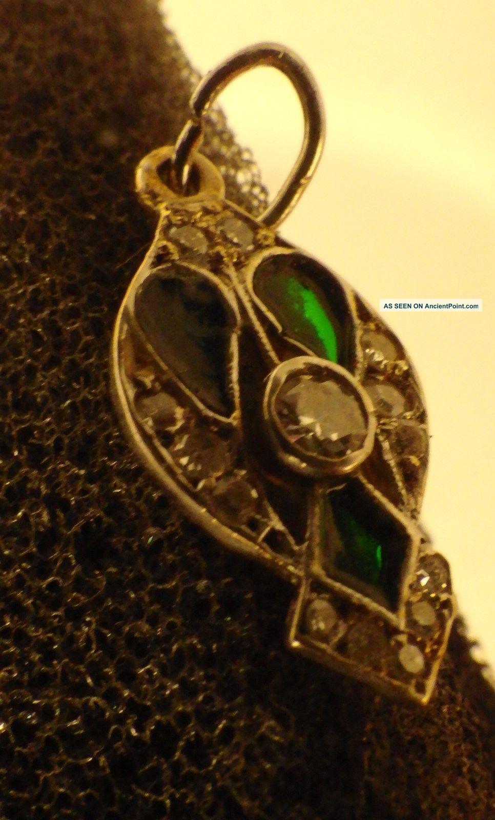 3107 Antique Exquisite Art Nouveau Pendant Gold Platinum Diamonds & Green Enamel Egyptian photo