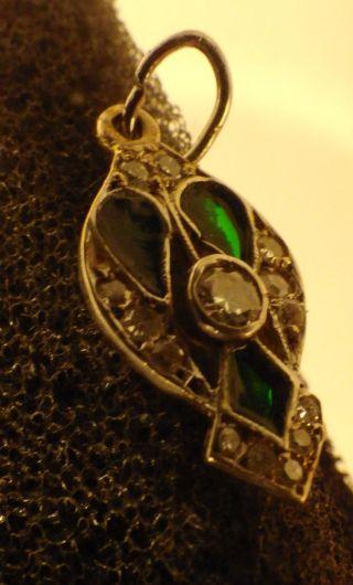 3107 Antique Exquisite Art Nouveau Pendant Gold Platinum Diamonds & Green Enamel photo