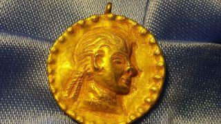 Roman Pure Solid Gold Emperor Pendant Very Rare photo
