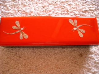 Vintage Japanese (?) Orange And Black Lacquer Glove/trinket Box With Dragonflies photo