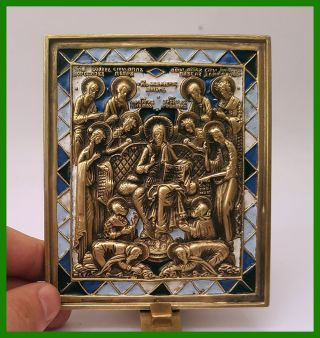 Russia Orthodox Bronze Icon Sedmitsa (the Week).  Enameled photo
