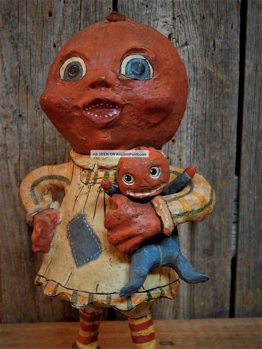 Folk Art Halloween Pumpkinhead Girl With Doll Figurine Retired 2000 Primitives photo