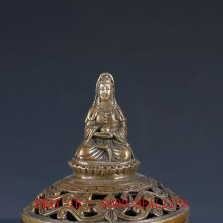 Old Chinese Bronze Buddhism Incense Burner With Ming Dynesty Xuande Mark photo