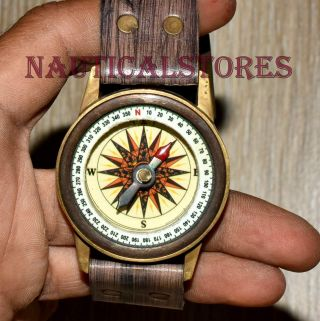 Antique Brass Compass Hand Wrist Watch Look Nautical Marine Navigation Compass photo