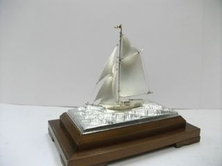 The Sailboat Of Silver985 Of The Most Wonderful Japan.  A Japanese Antique. photo