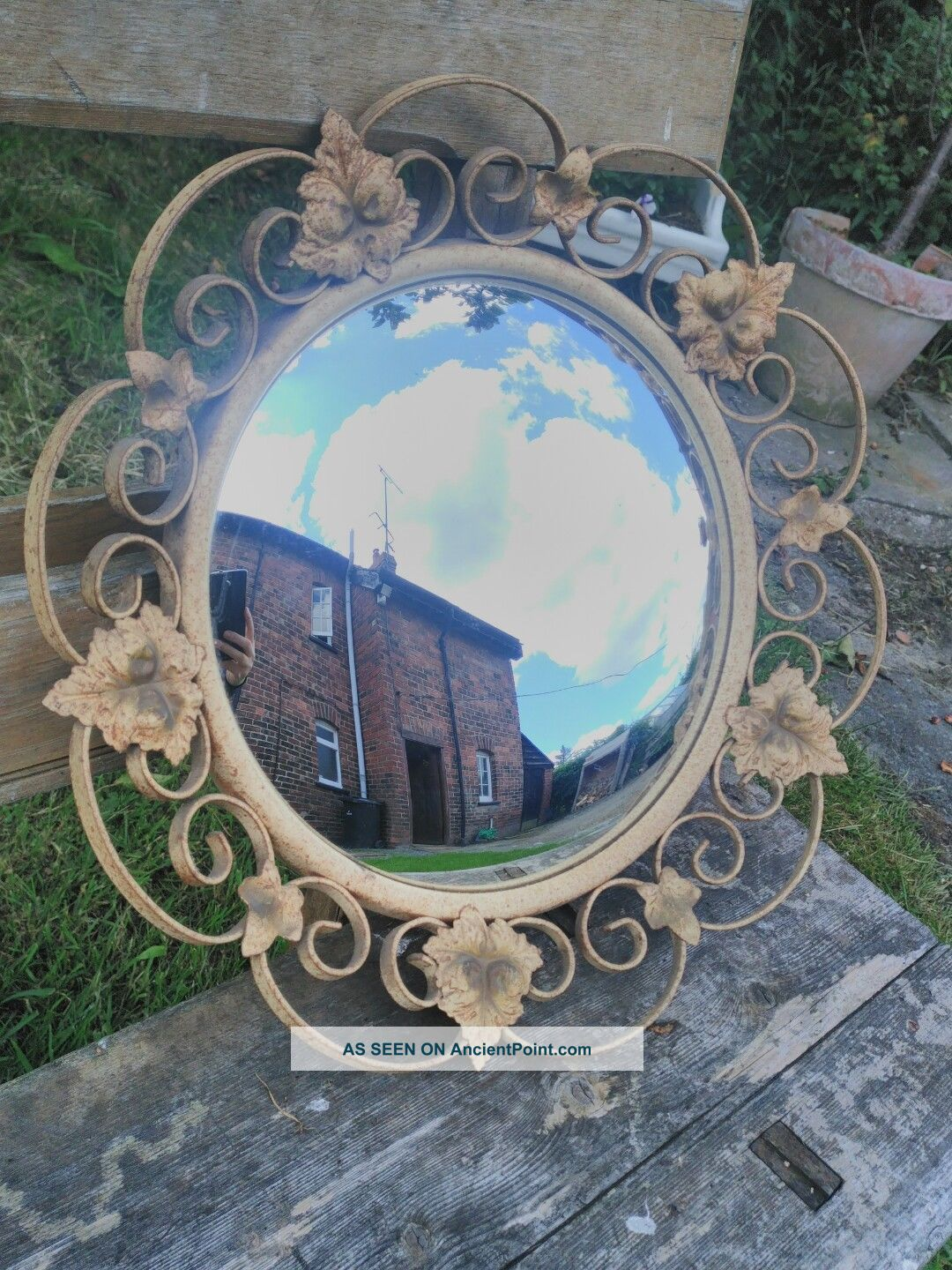 Authentic Vintage Convex Mirror With Metal Leaf Surround French Barn Find 20th Century photo