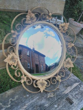 Authentic Vintage Convex Mirror With Metal Leaf Surround French Barn Find photo
