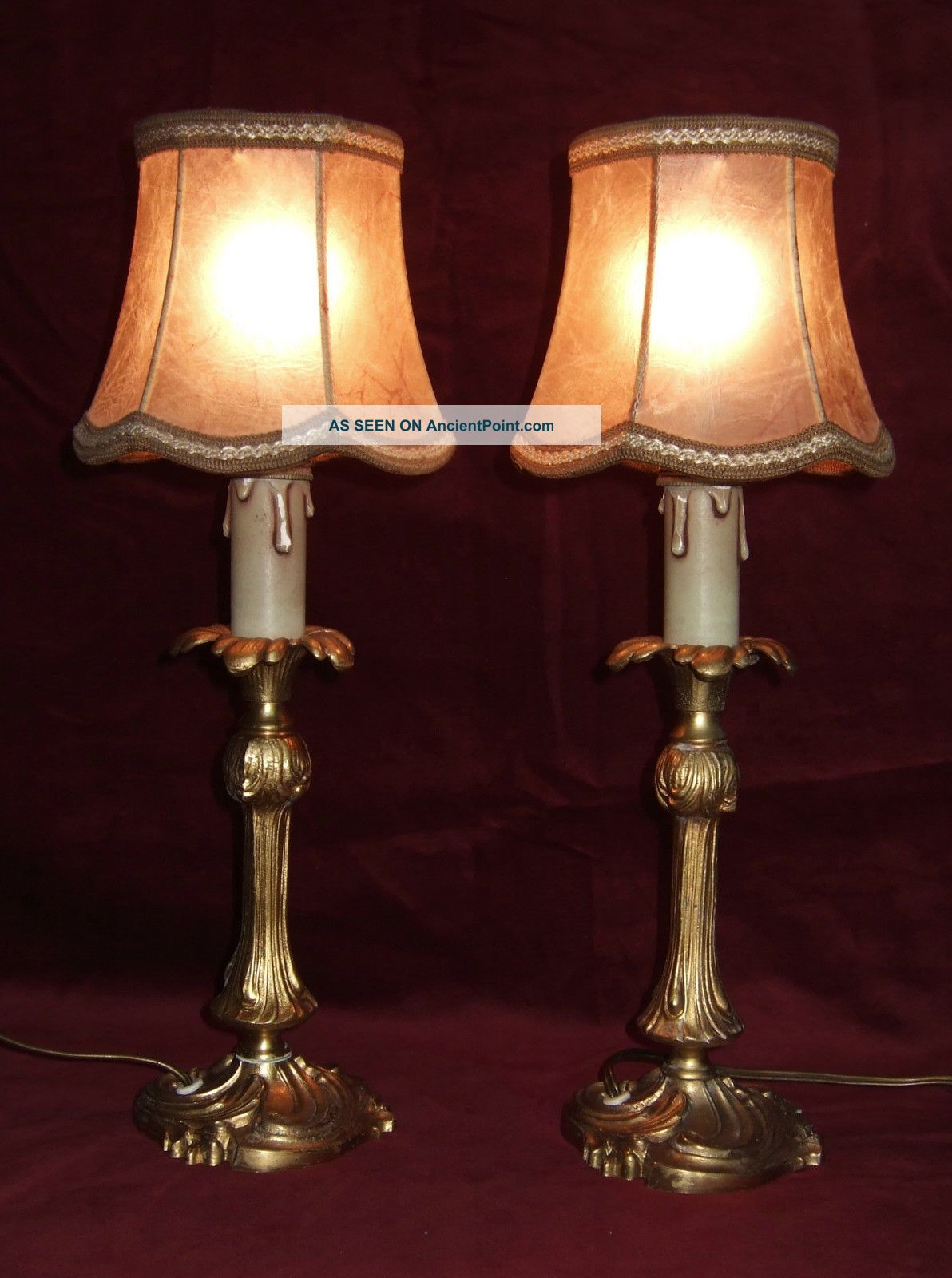 Pair Antique French Gilt Bronze Table Lamps,  With Shades.  Reserved Sgri4294 20th Century photo