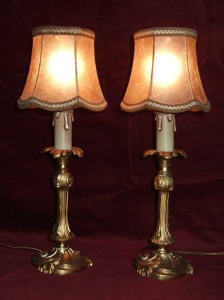 Pair Antique French Gilt Bronze Table Lamps,  With Shades.  Reserved Sgri4294 photo