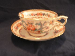 Royal Stafford Tea Cup And Saucer Basket Of Leaves With Colored Streamers photo