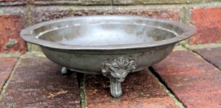 Rare Antique Pewter 3 Footed Lion Bowl Early 18th Century W/hallmarks - London photo