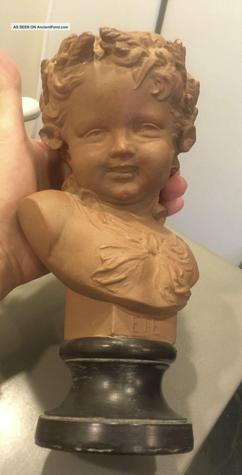 Antique French Art Nouveau Terra - Cotta Sculpture Bust Of Child Summer Ete Kley Art Nouveau photo