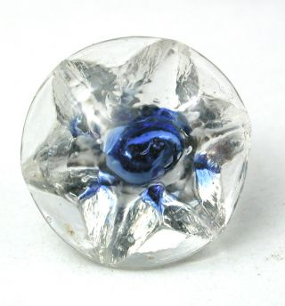 Antique Radiant Glass Button Star Mold W/ Blue Color - 9/16