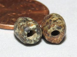 2 Ancient Beads Neolithic Granite photo