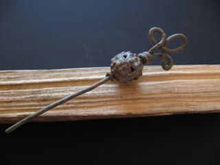 Spiral Top Ancient Celtic Openwork Bronze Filigree Hairpin 500 - 300 B.  C.  95 Mm photo
