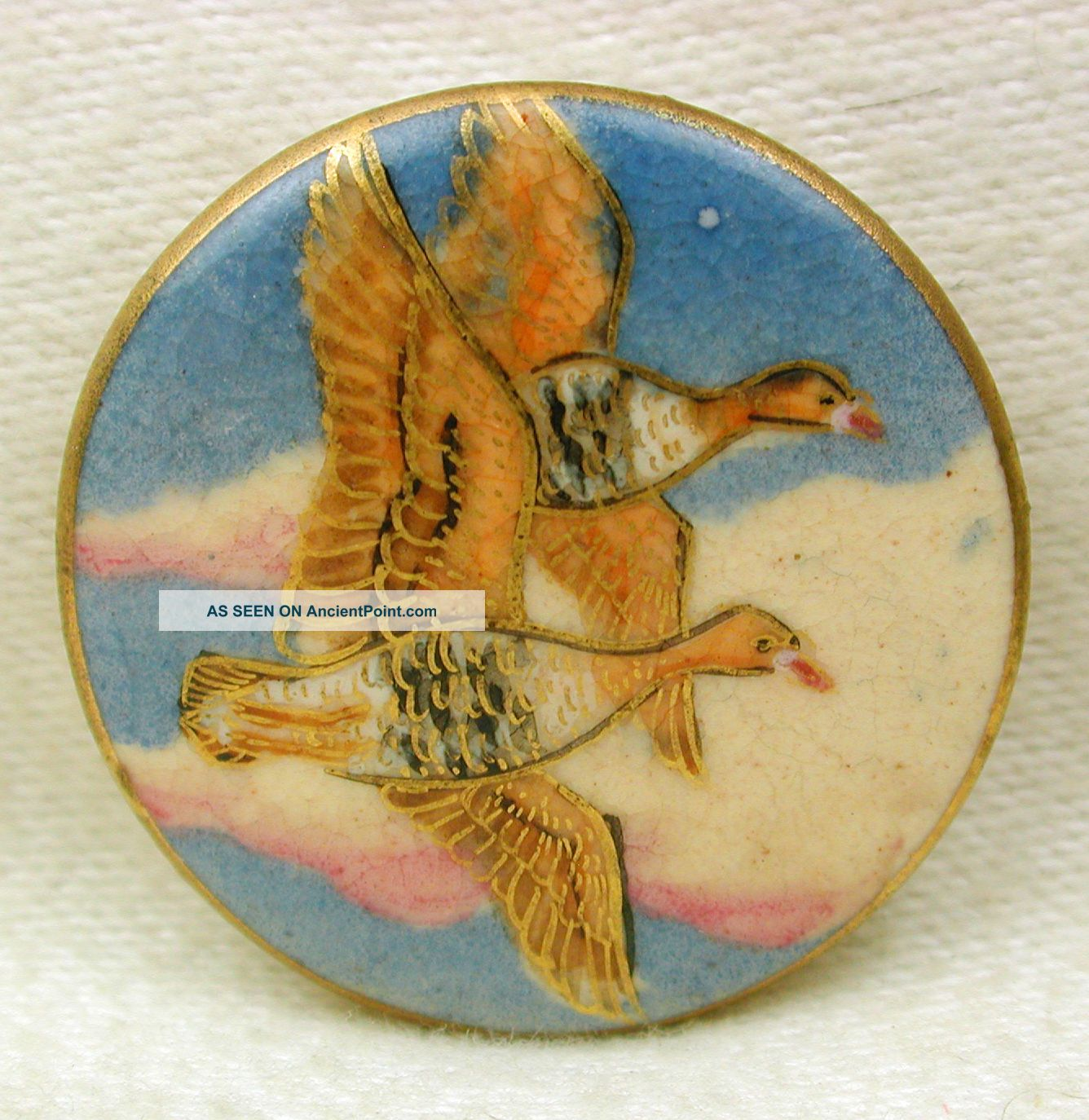 Vintage Satsuma Button Two Ducks In Flight W/ Gold Accents - 1 & 1/16 Buttons photo
