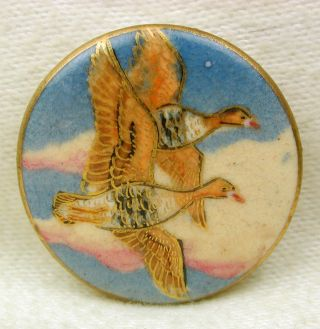 Vintage Satsuma Button Two Ducks In Flight W/ Gold Accents - 1 & 1/16 photo