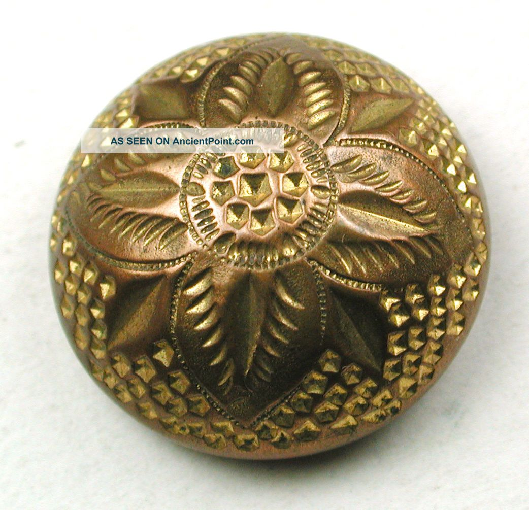 Antique Golden Age Brass Button Detailed Domed Flower Design - 7/8