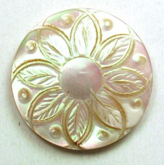 Antique Carved Iridescent Shell Button W/ Detailed Flower Design - 1 & 1/16