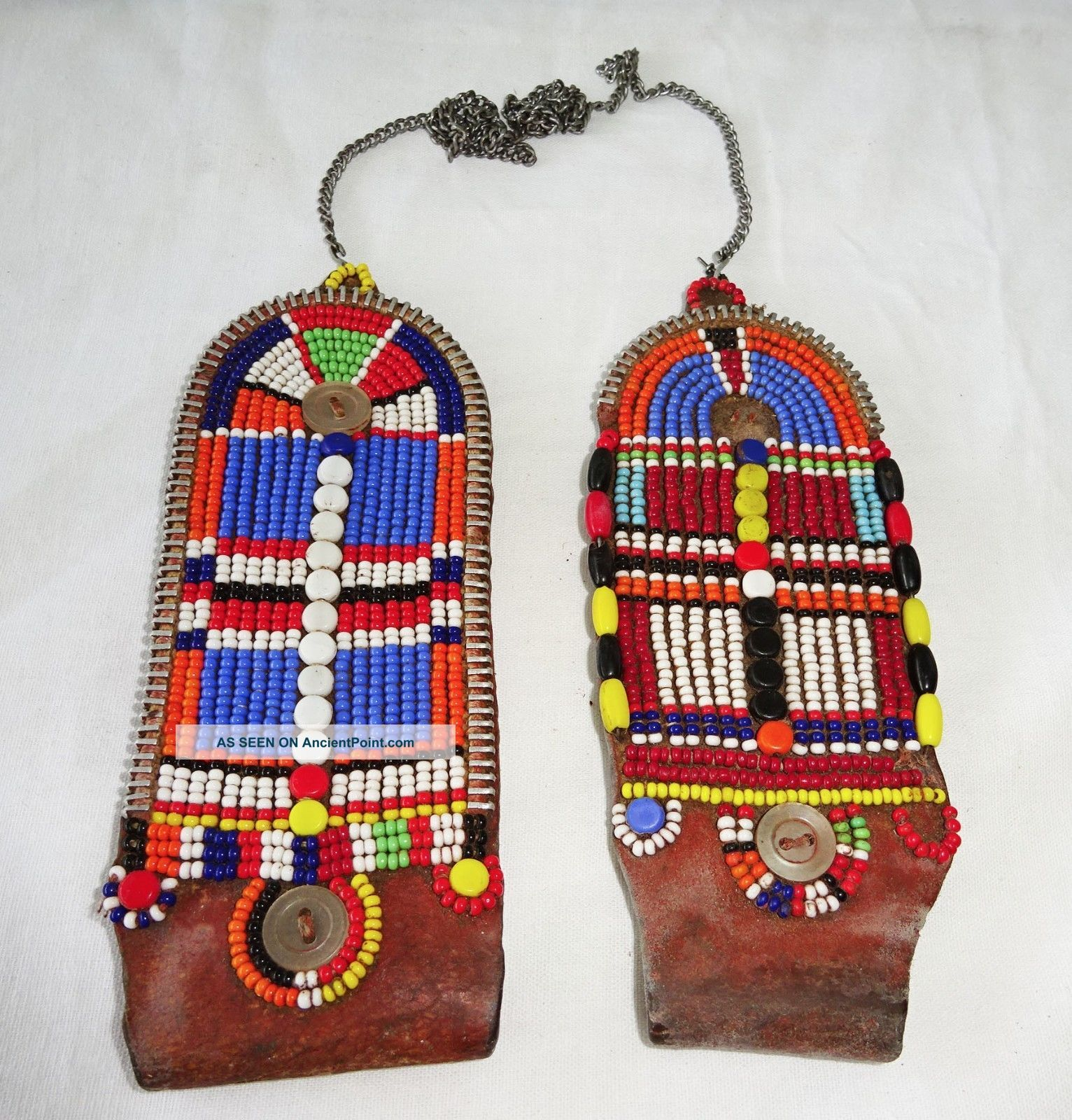 Pair 20c African Kenya Masai Tribe Female Trade Bead & Leather Earrings (eic) Other African Antiques photo