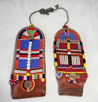 Pair 20c African Kenya Masai Tribe Female Trade Bead & Leather Earrings (eic) photo