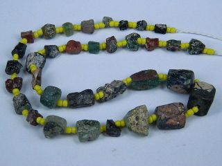 Ancient Fragment Glass Beads Strand Roman 200 Bc Be1295 photo