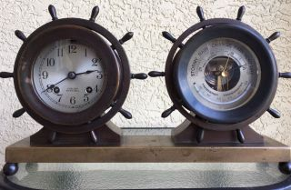 Chelsea Antique Ship ' S Wheel 8 Day Bell Clock And Barometer Ca.  1936 photo