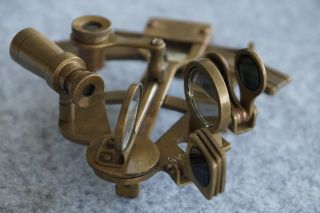 5  Solid Brass Sextant Nautical Antique Finish Instrument Astrolabe photo
