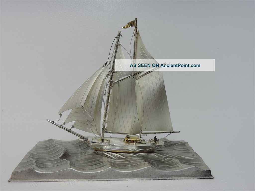 Solid Sterling Silver 2 Masted Yacht Ship Boat By Seki Japan Scrap 72 Gr 2.  5 Oz Other Antique Sterling Silver photo
