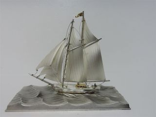 Solid Sterling Silver 2 Masted Yacht Ship Boat By Seki Japan Scrap 72 Gr 2.  5 Oz photo
