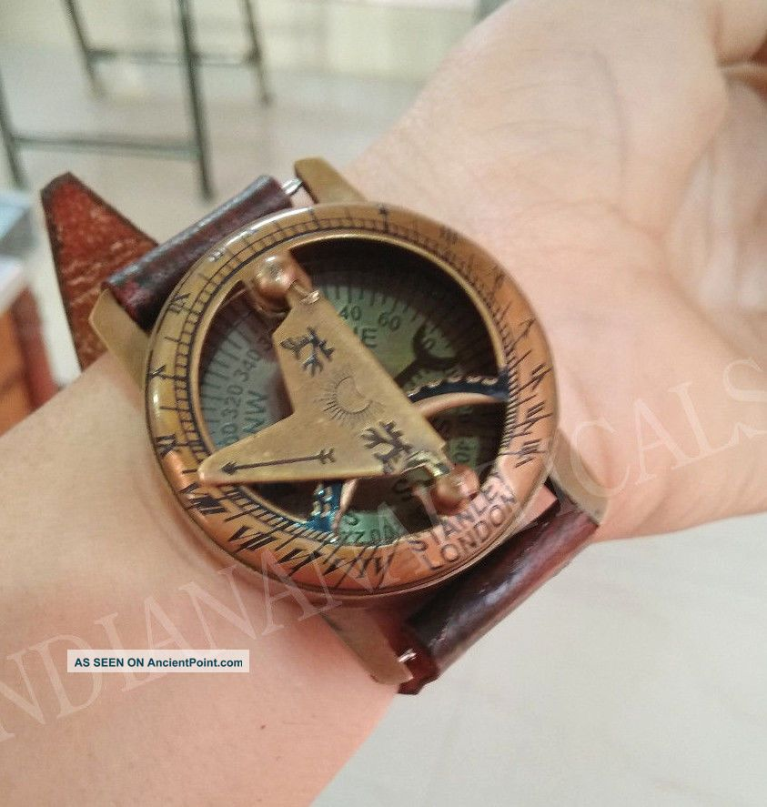 Antique Nautical Vintage Wrist Compass Sundial Watch W/leather Strap Gift Item Compasses photo