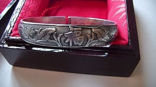 Antique Chinese Sterling?silver Split Lotus Flower Bangle Cuff Bracelet 46grams photo