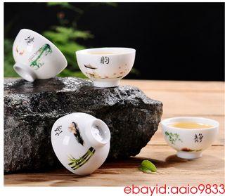 境 Blue And White Porcelain Teacup Kung Fu Tea Cups China Ceramic Jingdezhen photo