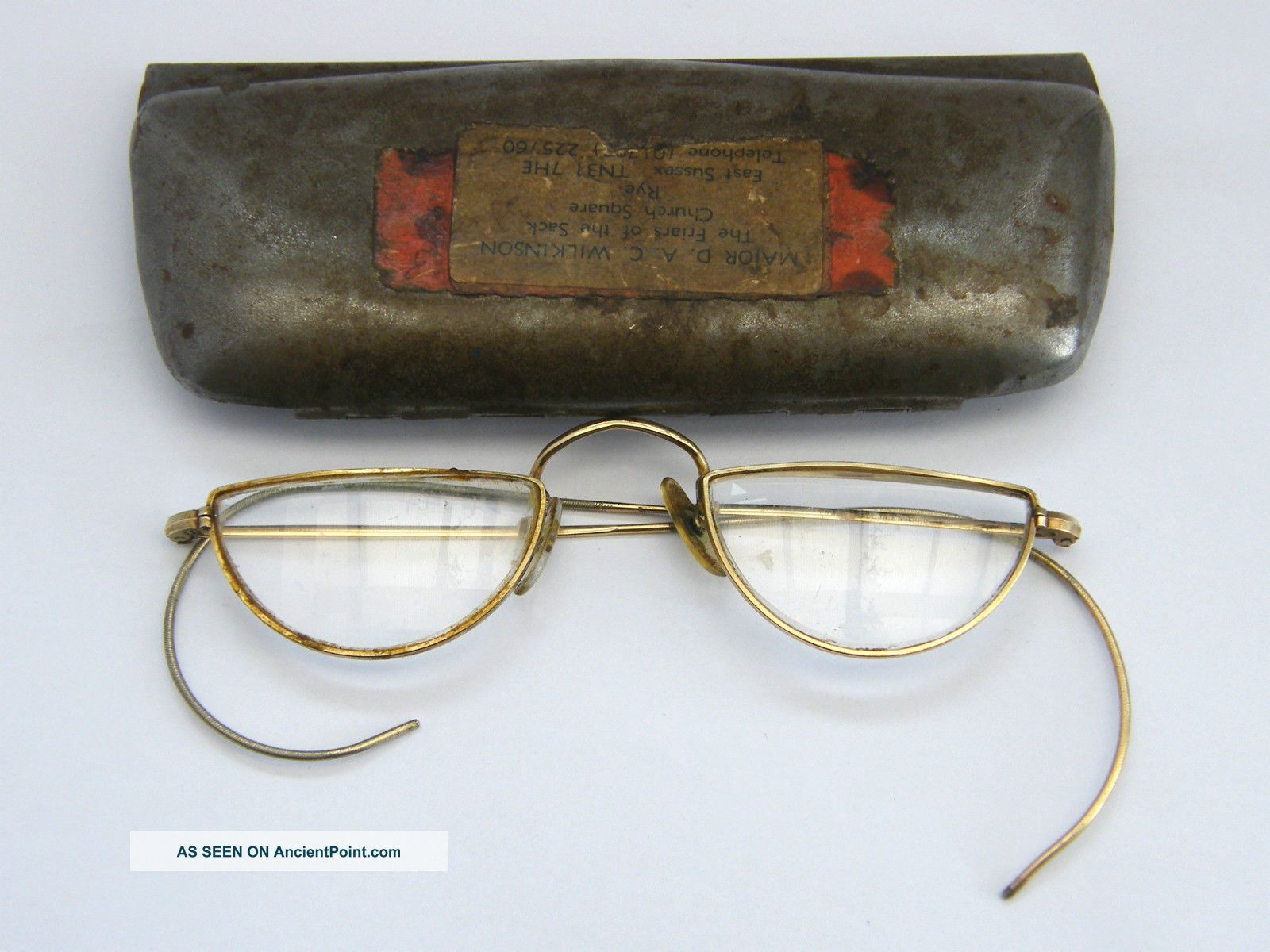 Antique - Gold Plated Half Moon Spectacles - Cased - Friars Of The Sack - C1910 Other Antique Science Equip photo