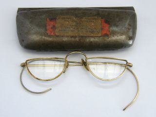 Antique - Gold Plated Half Moon Spectacles - Cased - Friars Of The Sack - C1910 photo