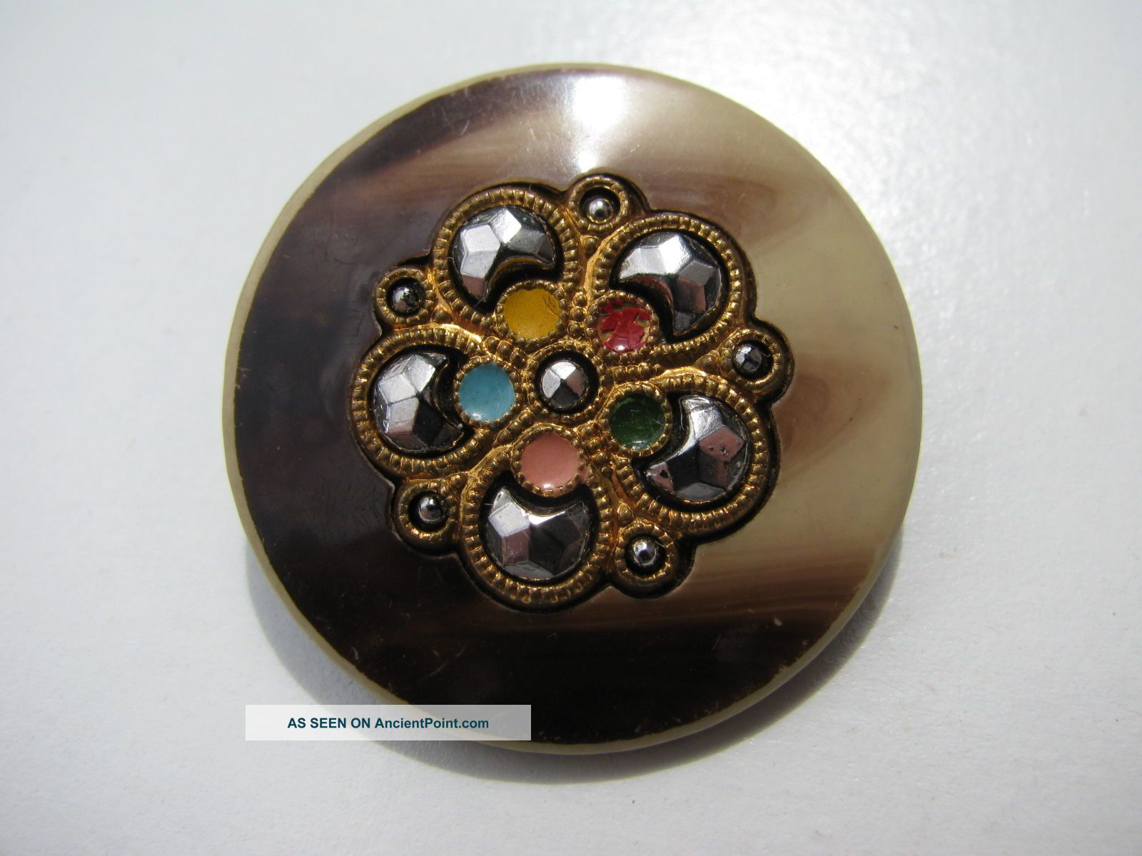 Rare Antique Vintage 30mm.  Celluloid Cut Steel Stones Enamel Metal Sewing Button Buttons photo