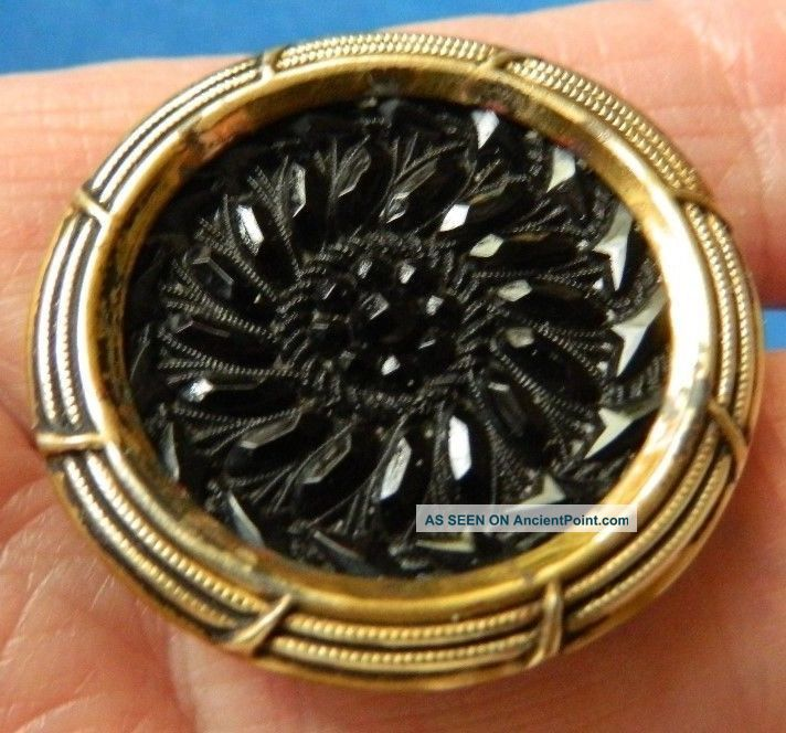 Antique Vtg Lacy Black Glass In Brass Button Buttons photo