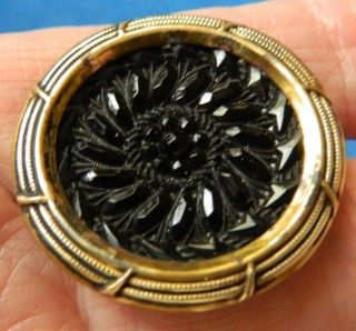 Antique Vtg Lacy Black Glass In Brass Button photo
