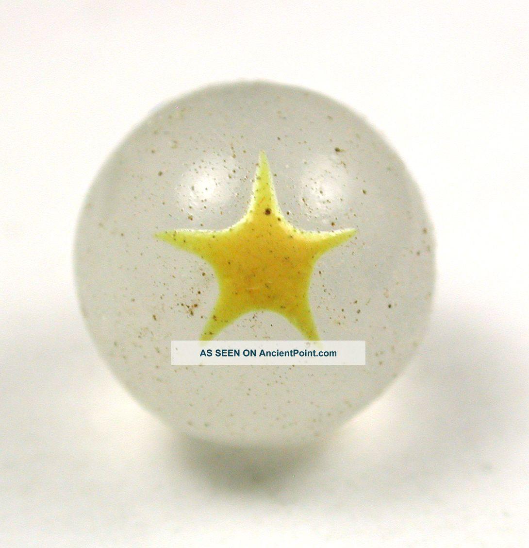 Antique Glass Ball Button Milk Glass W/ Yellow Star Design - 7/16 Buttons photo