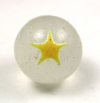 Antique Glass Ball Button Milk Glass W/ Yellow Star Design - 7/16 photo