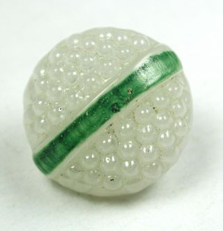 Antique Glass Button Berry Top W/ Green Band Swirl Back 9/16