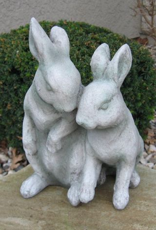 Concrete Bunny Rabbit Statue Primitive/french Country Farmhouse Garden Decor photo