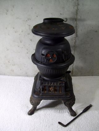 Vintage Spark Cast Iron Salesman Sample Pot Belly Stove Grey Casting Mt Joy photo