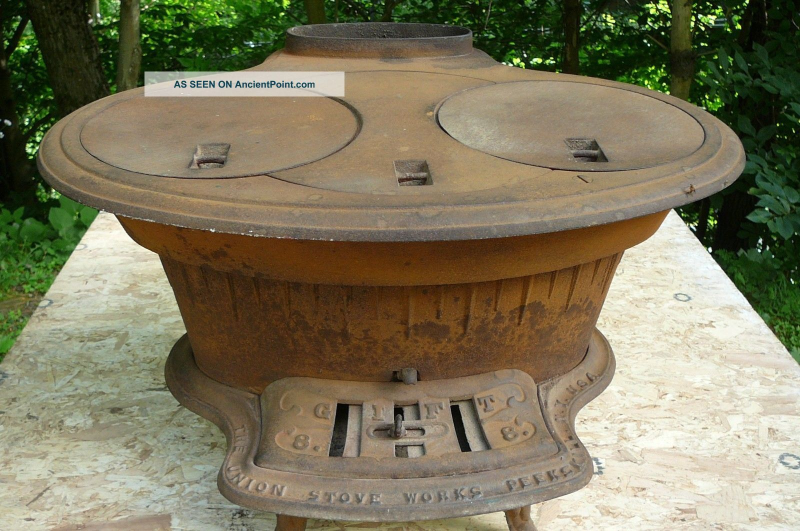Antique Late1800s Wood Cook Stove The Union Stove Corp,  R.  R.  Finch & Sons Stoves photo