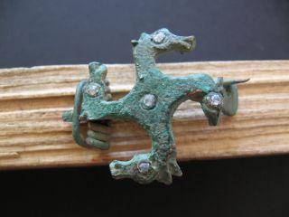 4 Horse Heads Swastika Fibula Ancient Roman Bronze Zoomorphic Brooch 1 - 2 Ct Ad photo