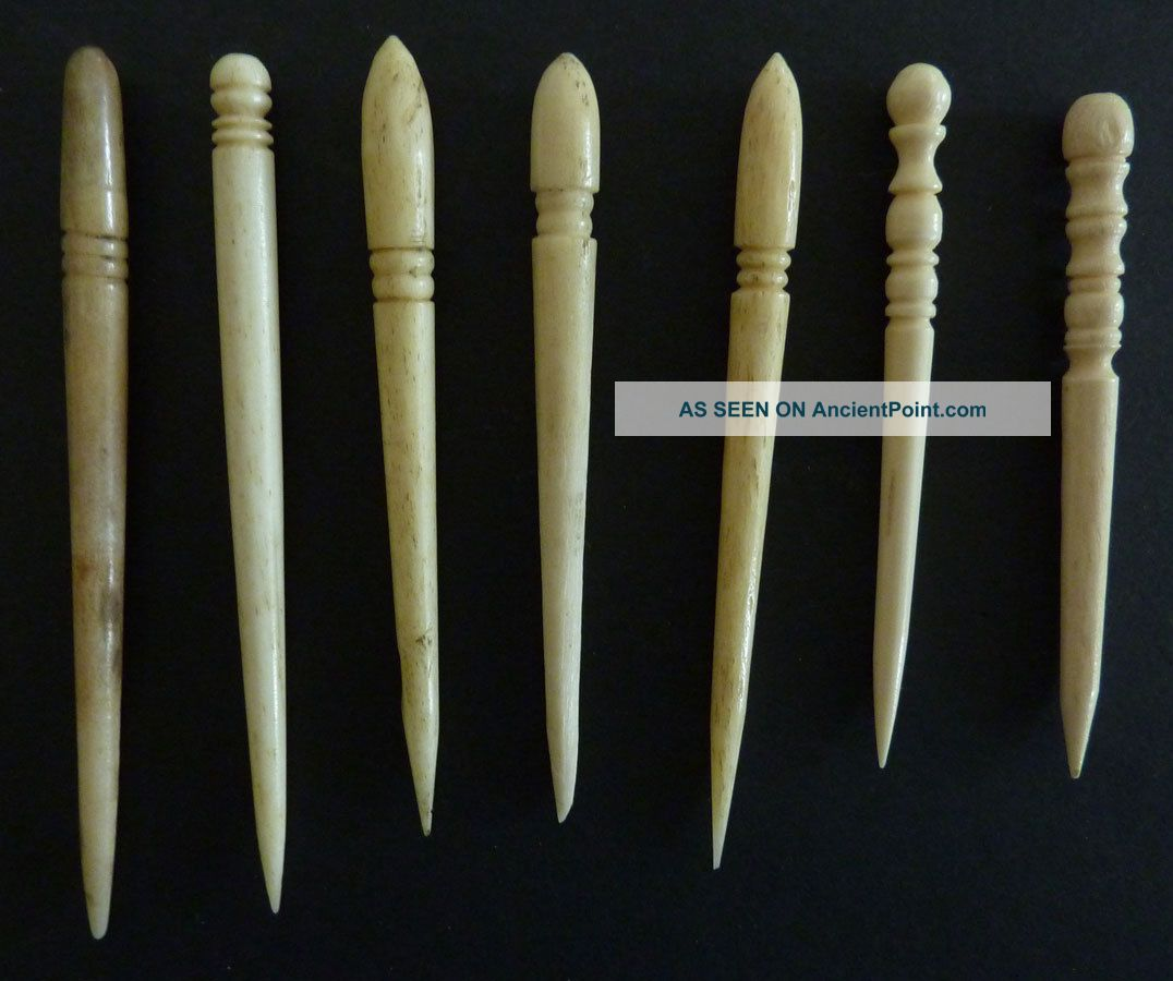 7 Antique Bone Sailor Made Fids,  Handmade,  Turnings,  Sharp Points. Folk Art photo
