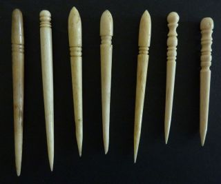 7 Antique Bone Sailor Made Fids,  Handmade,  Turnings,  Sharp Points. photo